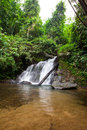 Above of punyaban waterfall is in lamnamkraburi national park ranong thailand walk from first floor about m Royalty Free Stock Images