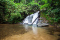 Above of punyaban waterfall is in lamnamkraburi national park ranong thailand walk from first floor about m Royalty Free Stock Photography