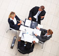 Above view of business colleagues during a meeting Royalty Free Stock Photography