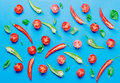 Above view at Chili pepper and tomatoes with basil Royalty Free Stock Photo