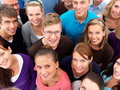 Above view of people standing together smiling Stock Photography