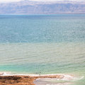 Above view of waterfront of Dead Sea in morning Royalty Free Stock Photo