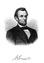 Abraham lincoln an engraved image of from the book the pioneer boy and how he became president by w m thayer and Stock Photo