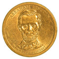 Abraham Lincoln Golden Dollar coin Royalty Free Stock Photo