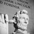 Abraham lincoln statue memorial in washington america black and white headshot Stock Photography