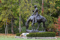 Abraham lincoln statue of president on a horse at new salem historic site Stock Photography