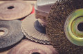 Abrasive disks for metal and stone grinding cutting old close up Royalty Free Stock Photo