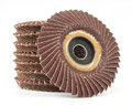 Abrasive flap discs on a white background Royalty Free Stock Images