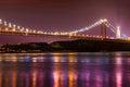 23 abril bridge at night Royalty Free Stock Photo