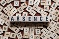 stock image of  Absence word on building blocks