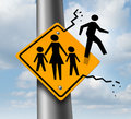 Absent dad or deadbeat father concept as a traffic sign with a mother and two children and a daddy icon breaking out abandoning Stock Photography