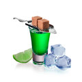 Absinthe shots with lime slices, sugar and ice cubes, isolated Royalty Free Stock Photo