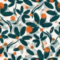 Absract leafs and berries. Vector seamless pattern.