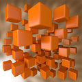 Abstract 3D Orange Blocks Background Stock Photo