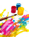 Abstract acrylic paint with brush Royalty Free Stock Images