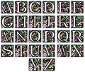 Abstract alphabet in mosaic set representing the letters of on a background made like a Stock Photo