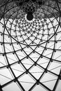 Abstract architectural background swirl steel beam glass roof Royalty Free Stock Photo