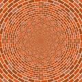 Abstract architectural brick wall circle optical illusion vector mosaic background Royalty Free Stock Photo
