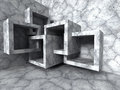 Abstract architecture. Concrete chaotic cubes construction background Royalty Free Stock Photo