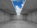 Abstract architecture empty concrete room with opening interior in ceiling d illustration blue sky background Royalty Free Stock Image