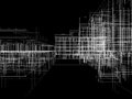 Abstract archticture wire frame render on black background Royalty Free Stock Images