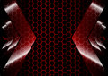 Abstract Arrow backdrop with hexagon grid red color  background Royalty Free Stock Photo