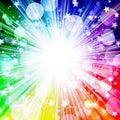 Beautiful bright rainbow background, burst stars, stars, circles, rays, holiday, fun, party, music festival, vacation, rainbow Royalty Free Stock Photo