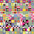 Abstract Art Hearts Flowers Cu...
