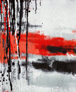 Abstract art painting dripping vertical oil on canvas Royalty Free Stock Photo