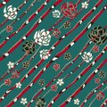 Abstract art roses like brooch, coral snakes and jewelry diamond chains on turquoise background.
