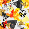 Abstract autumn geometric seamless pattern.