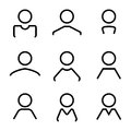 Abstract avatar human user flat line icons set