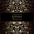 Abstract background with antique, luxury black and gold vintage frame, victorian banner, damask floral wallpaper ornaments Royalty Free Stock Photo