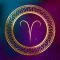 Abstract background astrology concept gold horoscope zodiac sign Aries circle frame illustration Royalty Free Stock Photo