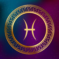 Abstract background astrology concept gold horoscope zodiac sign fish circle frame illustration Royalty Free Stock Photo