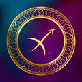 Abstract background astrology concept gold horoscope zodiac sign Sagittarius circle frame illustration Royalty Free Stock Photo