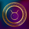 Abstract background astrology concept gold horoscope zodiac sign Taurus circle frame illustration Royalty Free Stock Photo