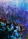Abstract background with blue leaves, cartoon background winter theme, abstract winter landscape, winter night theme Royalty Free Stock Photo