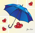 Abstract background with blue umbrella and red hearts.