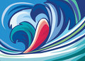 Abstract background of blue waves Royalty Free Stock Photo