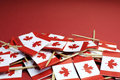 Abstract background of Canada red and white Maple Leaf national toothpick flags - closeup Royalty Free Stock Photo