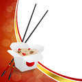 Abstract background Chinese food white box red yellow gold circle frame illustration Royalty Free Stock Photo