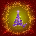 Abstract background with lilac christmas tree and stars. Illustration in lilac,gold and red colors. Royalty Free Stock Photo