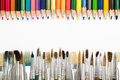 stock image of  Abstract background from color pencils and paintbrushes