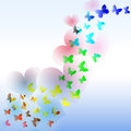 Abstract background with colorful butterfly and hearts in the wa Royalty Free Stock Photo