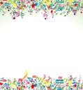 Abstract Background with Colorful Music notes Royalty Free Stock Photo