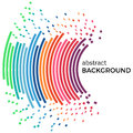 Abstract background with colorful rainbow lines and flying pieces Royalty Free Stock Photo