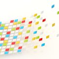 Abstract background composition made of multiple colorful glossy tiles over the white reflective surface Stock Photo