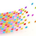 Abstract background composition made of multiple colorful glossy tiles over the white reflective surface Stock Photos