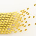 Abstract background composition made of multiple glossy golden tiles over the white reflective surface Stock Image